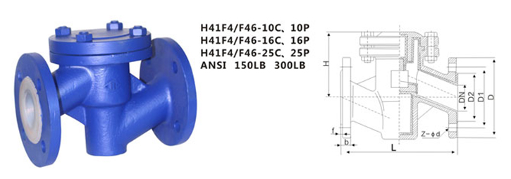 drawing of ANSI PTFE lined flanged check valve H41F