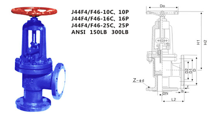 drawing PTFE lined angle type globe valve