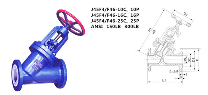 drawing of PTFE lined J45F DC type globe valve
