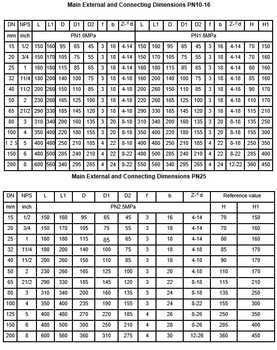 dimension of PTFE lined Basket type Filter (Strainer) LG41F