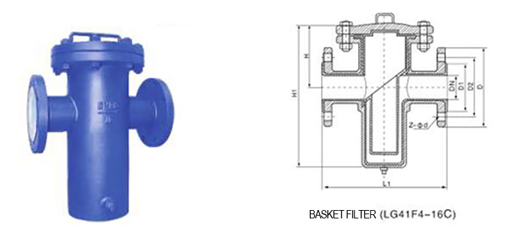 drawing of PTFE lined Basket type Filter (Strainer) LG41F