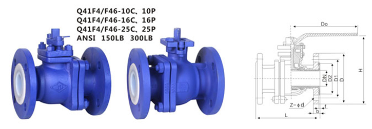 drawing of PTFE lined flanged ball valve Q41F