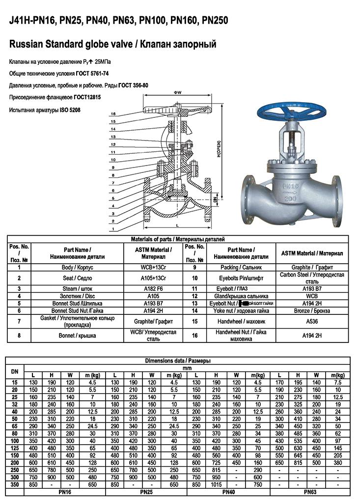 Russia standard Gost flanged globe valve 15с65нж, 15с18нж