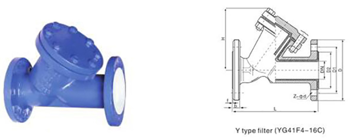drawing of PTFE lined Y-type flanged Filter (Strainer) YG41F
