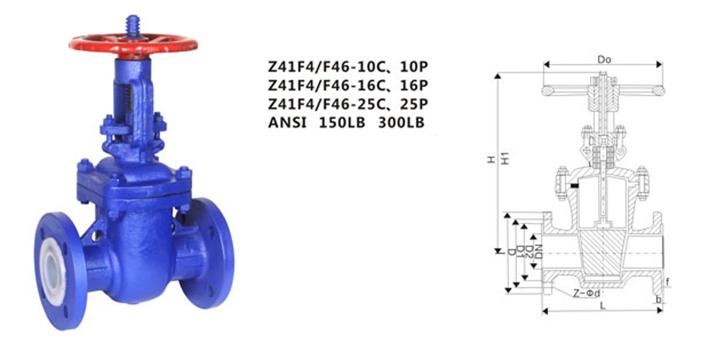 drawing of ANSI PTFE lined gate valve Z41F